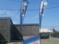 14' Tear Drop Banner Flags on a Portable Display Unit
